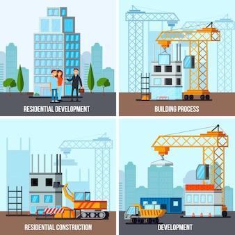 Conjunto de banner de construção de arranha-céu