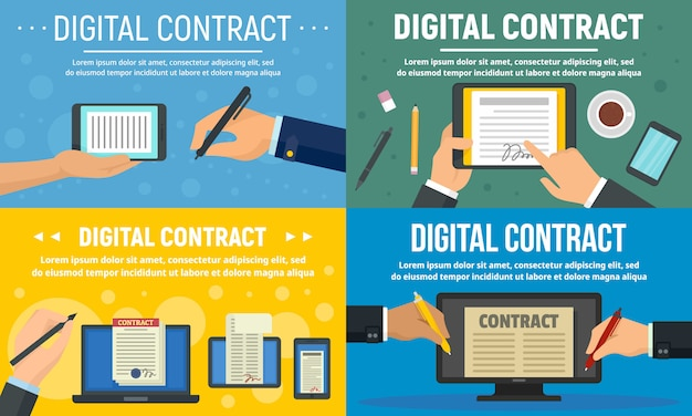 Conjunto de banner de contrato digital