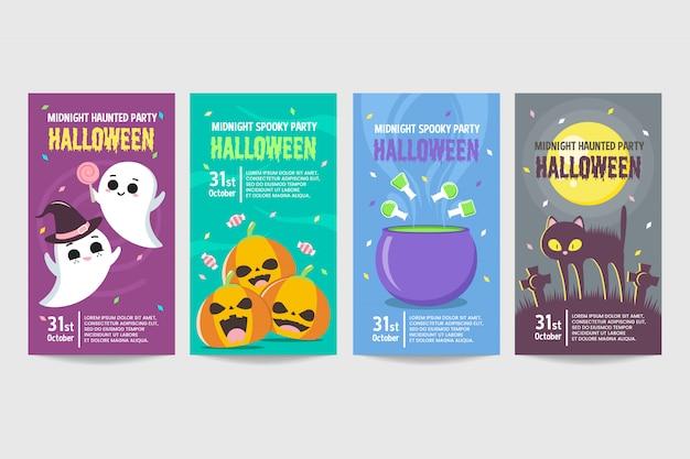 Conjunto de banner de convite de halloween colorido modelo