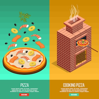 Conjunto de banner de cozimento de pizza