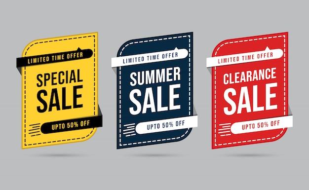 Conjunto de banner de desconto de oferta especial por tempo limitado amarelo, preto e vermelho