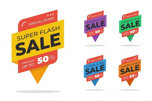 Conjunto de banner de desconto de venda flash