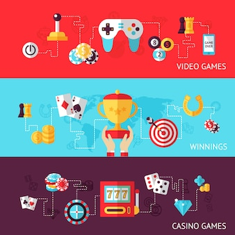 Conjunto de banner de design de jogos