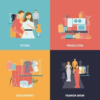 Conjunto de banner de design de roupas