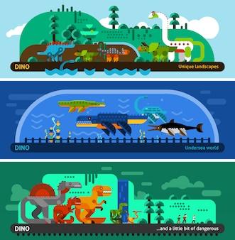 Conjunto de banner de dinossauro