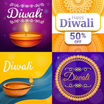 Conjunto de banner de diwali, estilo cartoon