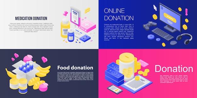 Conjunto de banner de doações, estilo isométrico