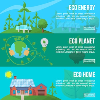 Conjunto de banner de ecologia
