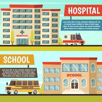 Conjunto de banner de edifícios municipais coloridos