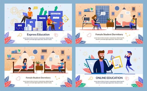 Conjunto de banner de educação on-line