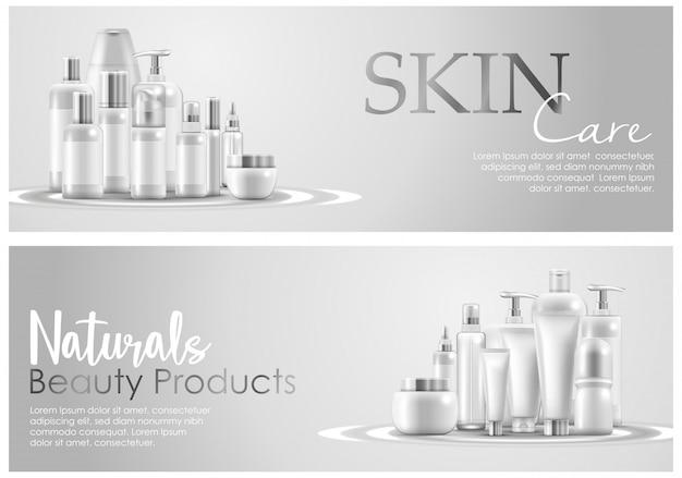 Conjunto de banner de embalagem de produto de beleza natural de cuidados da pele