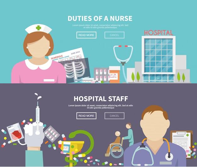 Conjunto de banner de enfermeira