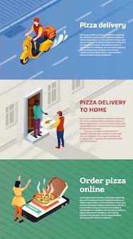 Conjunto de banner de entrega de pizza, estilo isométrico