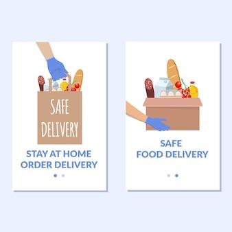 Conjunto de banner de entrega segura. entrega do produto durante a quarentena.
