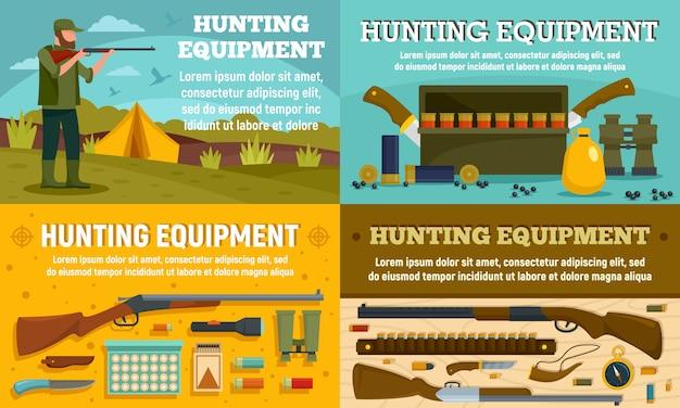 Conjunto de banner de equipamento de caça