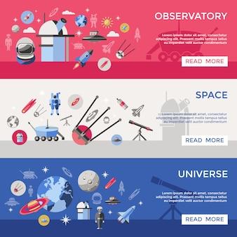 Conjunto de banner de espaço