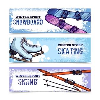 Conjunto de banner de esporte de inverno