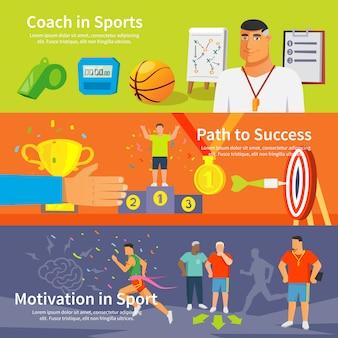 Conjunto de banner de esporte de treinamento