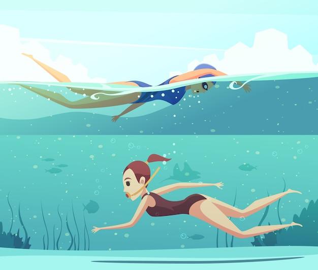 Conjunto de banner de esportes aquáticos