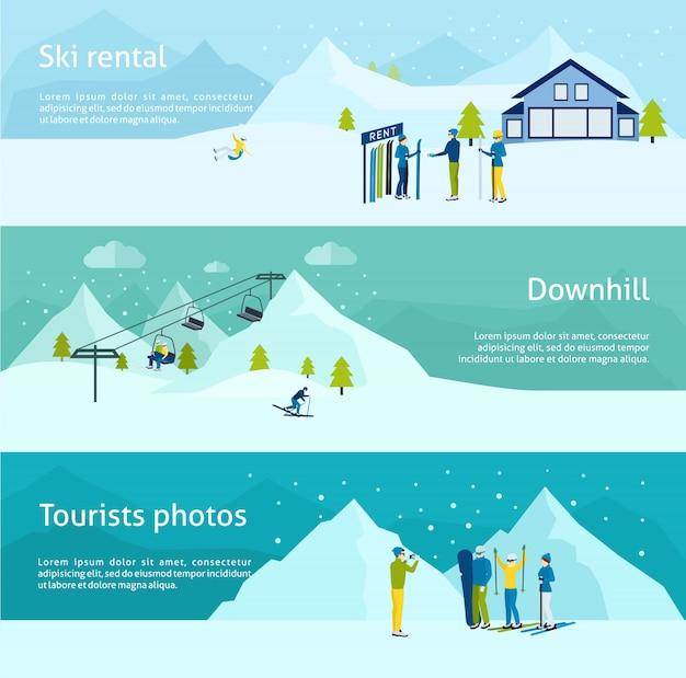 Conjunto de banner de estância de esqui