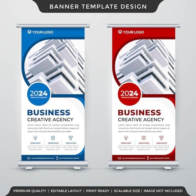 Conjunto de banner de estande de negócios estilo premium