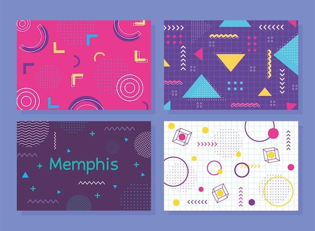 Conjunto de banner de estilo memphis, ilustração de decoração de formas abstratas