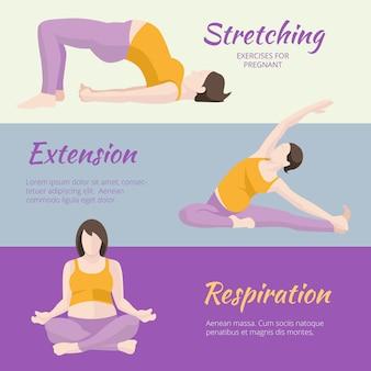 Conjunto de banner de exercícios de mulher grávida