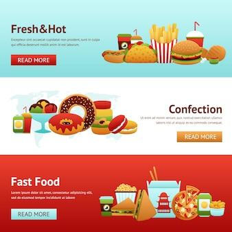 Conjunto de banner de fast food