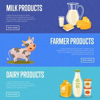 Conjunto de banner de fazenda de gado leiteiro
