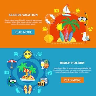 Conjunto de banner de férias no litoral