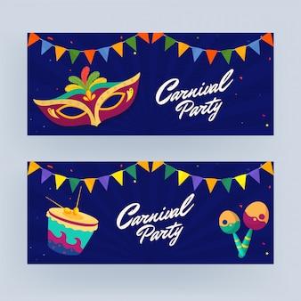 Conjunto de banner de festa de carnaval
