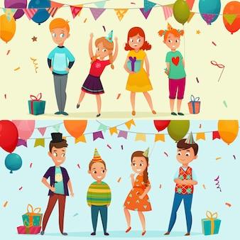 Conjunto de banner de festa de crianças