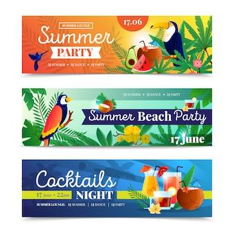 Conjunto de banner de festa de praia tropical