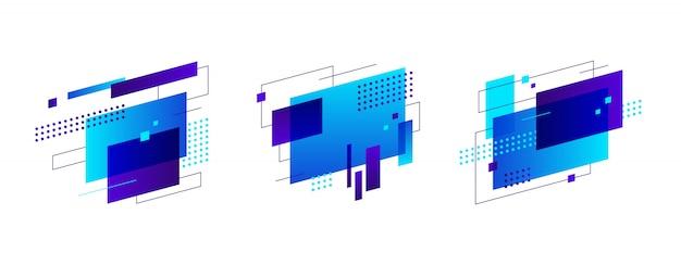 Conjunto de banner de figuras abstratas coloridas