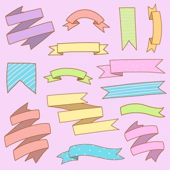 Conjunto de banner de fita colorido desenho à mão doodle