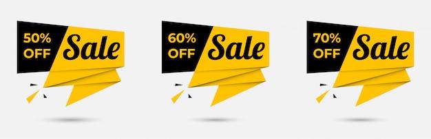 Conjunto de banner de fita de oferta especial de venda