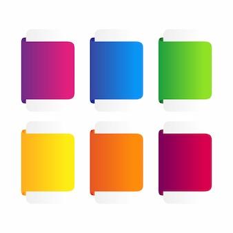 Conjunto de banner de fitas coloridas.