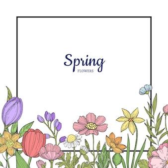 Conjunto de banner de flores desenhadas mão
