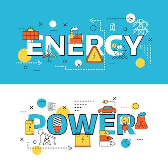 Conjunto de banner de fontes de energia