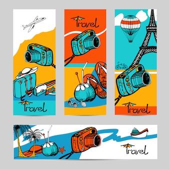 Conjunto de banner de foto de viagens