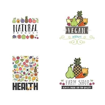 Conjunto de banner de frutas e legumes vegetariano