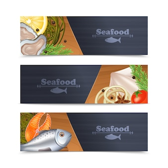 Conjunto de banner de frutos do mar