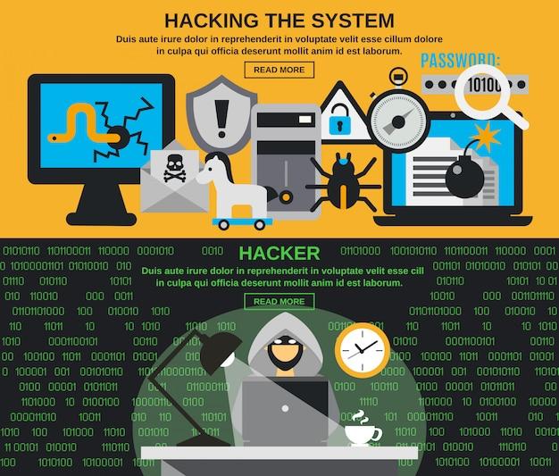 Conjunto de banner de hackers
