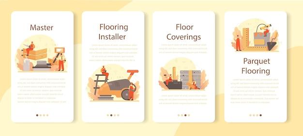 Conjunto de banner de instalador de piso para aplicativo móvel