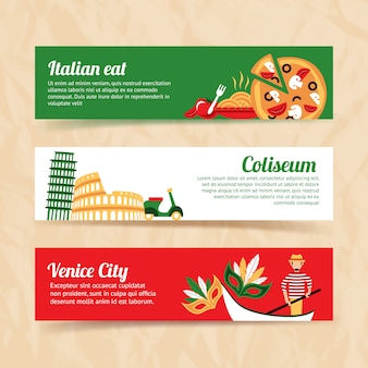 Conjunto de banner de itália