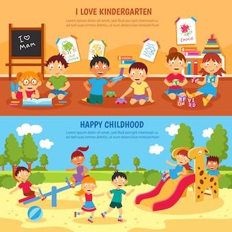 Conjunto de banner de jardim de infância