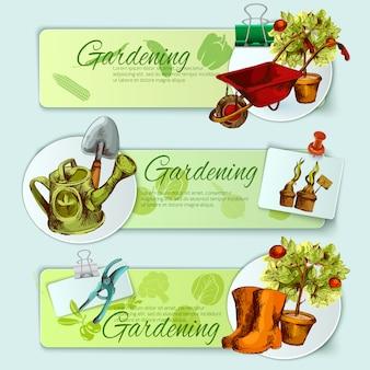 Conjunto de banner de jardinagem