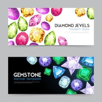 Conjunto de banner de jóias de diamantes de pedras preciosas