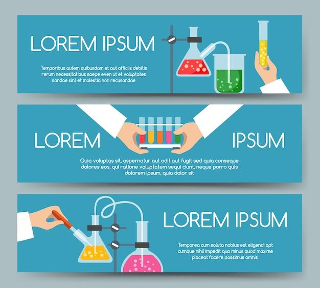 Conjunto de banner de laboratório químico de cientista