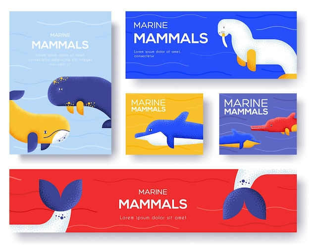 Conjunto de banner de mamíferos marinhos
